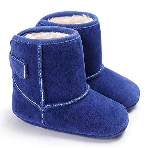 (Cindear Infant Baby Boys Girls First Walker Shoes Suede Faux-Fur Lined Warm Winter Snow Boots for Newborn Baby Crib Shoes 1011 Blue 0-6 Months)