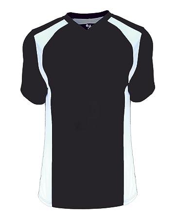 d94a59e127c Black White Ladies 2XL (Blank Back) Moisture Wicking V-Neck Shirt