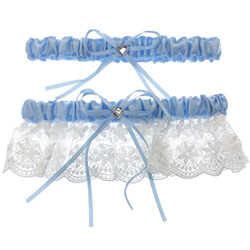 DivaDesigns Floral Lace Ruffle Heart Shape Crystal Ribbon Wedding Garter Set with Toss Away Blue