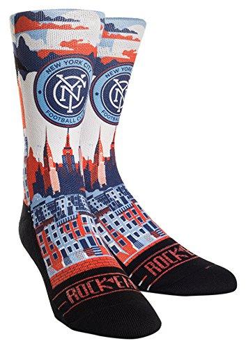 MLS New York City FC City Skyline Custom Athletic Crew Socks, Small/Medium, Blue/Orange by Rock'em Apparel