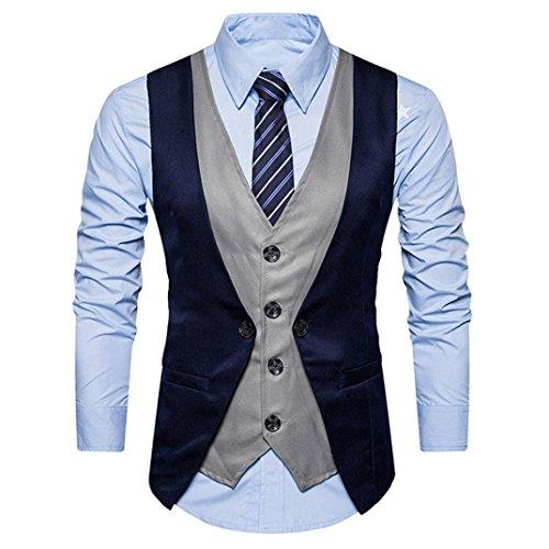 Double Breasted Tweed Coat (ManxiVoo Men Formal Tweed Check Double Breasted Waistcoat Layered Vest Dress Businee Slim Fit Suit Jacket (L, Navy))