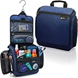 Hanging Travel Toiletry Bag for Men and Women - Large Cosmetics, Makeup and Toiletries Organizer Kit with 19 Compartments, YKK Zippers, XXL Metal Swivel Hook, Water-Resistant Nylon