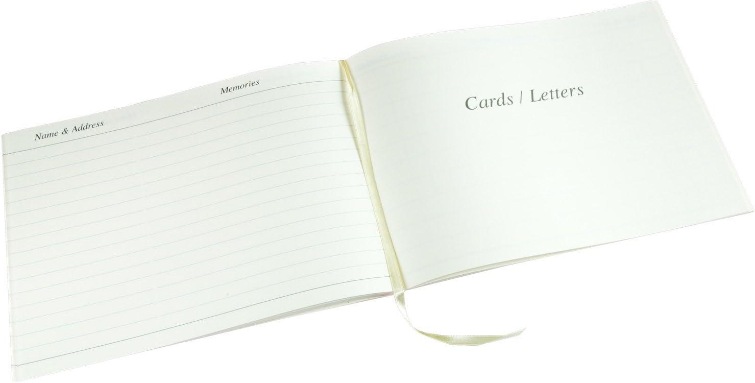 """Blanc Bo/îte de Pr/ésentation Taille 26.5 cm x 19.5 cm x 1.5 cm Esposti Livre de Condol/éances in Memory/"""" Inscription Invit/és Fun/érailles"""