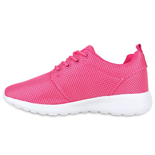 Damen Sportschuhe Blumen Neon Stoff Glitzer Metallic Laufschuhe Lack Animal Print Schuhe Sneaker Runners Trainers Profilsohle Flandell Pink