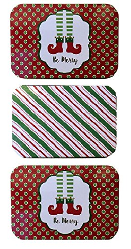 Country Snowman Stocking (Christmas Holiday Gift Card Tin Box Holders Santa's Elves Stockings and Peppermint Stripes 3 Pack)
