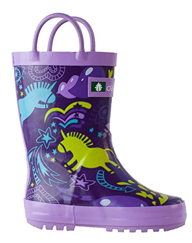 Easy Oakiwear On Unicorns Waterproof Kids Rubber with Purple Boots Rain Handles WqwSYqrpT