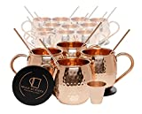 Set of 16 Pure Copper Moscow Mule Mugs by Mule Science with BONUS: Highest Quality Cocktail Copper 16 Straws, 2 Shot glasses and 16 coasters