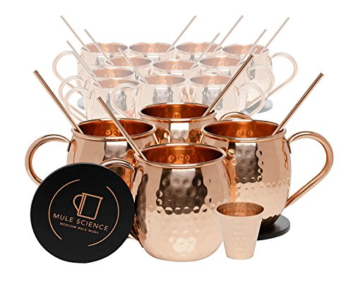 Set of 16 Pure Copper Moscow Mule Mugs by Mule Science with BONUS: Highest Quality Cocktail Copper 16 Straws, 2 Shot glasses and 16 coasters by Advanced Mixology