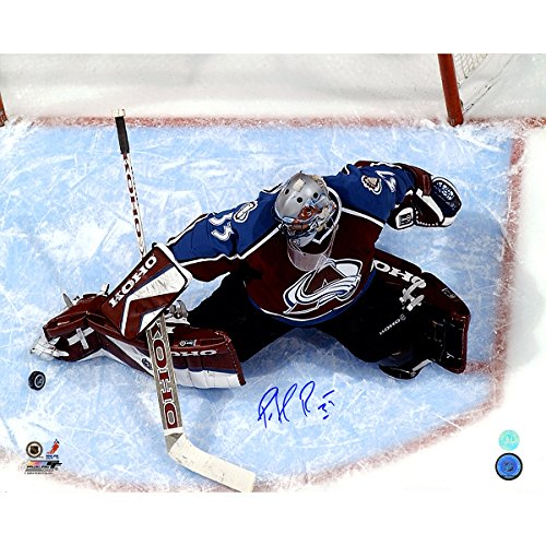 Patrick Roy Colorado Avalanche Autographed Overhead In Crease 16 Inch X 20 (Patrick Roy Photograph)