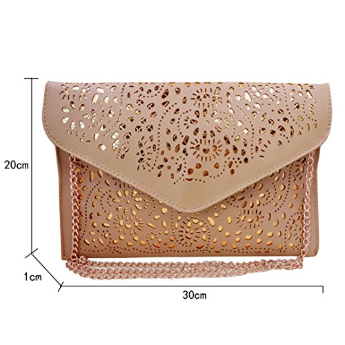 Mily Hollow Out Flower Envelop Clutch Chain Tote Shoulder Bag Handbag Beige by Mily (Image #2)