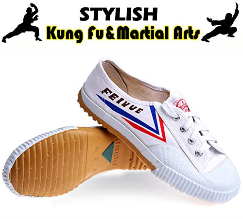 T.O.P ONE Kung Fu Martial Arts Shoes,Rubber Sole Sneakers-White 45(Men 11|Women 12.5)