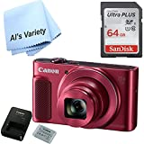 Canon SX620 Digital Camera w/25x Optical Zoom - Wi-Fi & NFC Enabled (Red) with Free SanDisk Ultra 64GB SDHC Class 10 Card