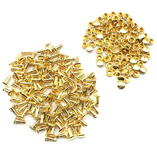 MOPOLIS 100 Sets 6x8mm Double Cap Rivets Metal Leather Craft Repairs Studs Spike Decor   Color - Gold