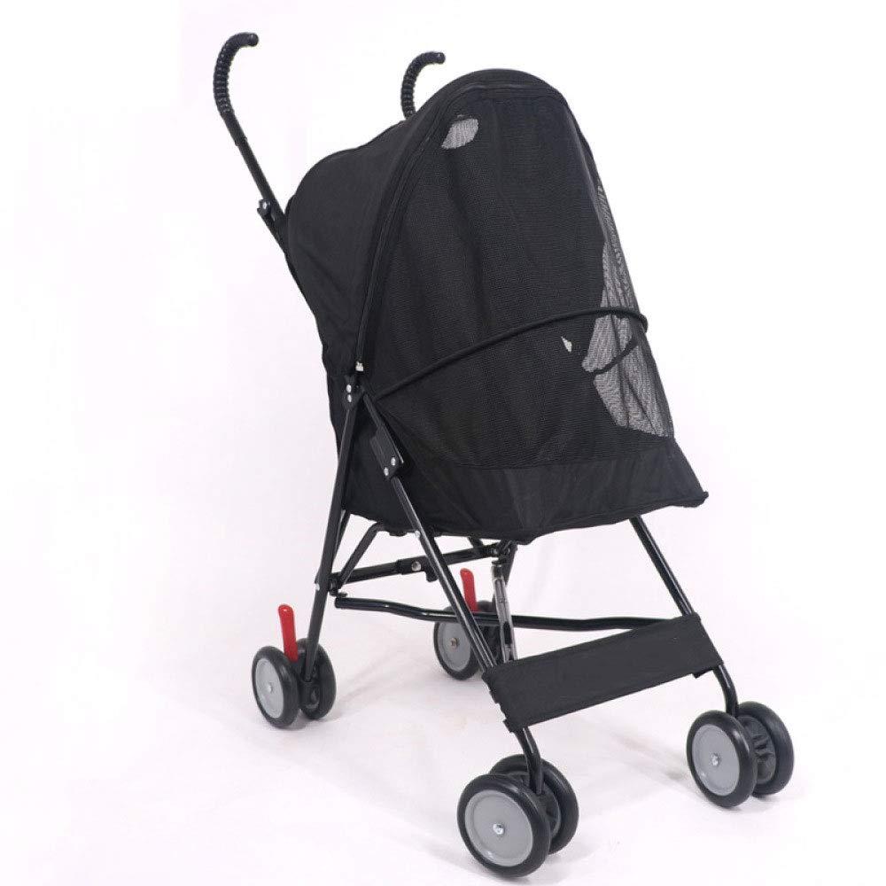 Black Pet Stroller Lightweight Pet Stroller Dog Cat Trolley Teddy Outboard Cart Quick Inssizetion (color   Black)