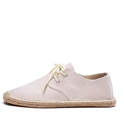 YOPAIYA Cuerda de cáñamo Mens Zapatos de Encaje hasta Verano Alpargatas Hombres sólidos Zapatos de Tela