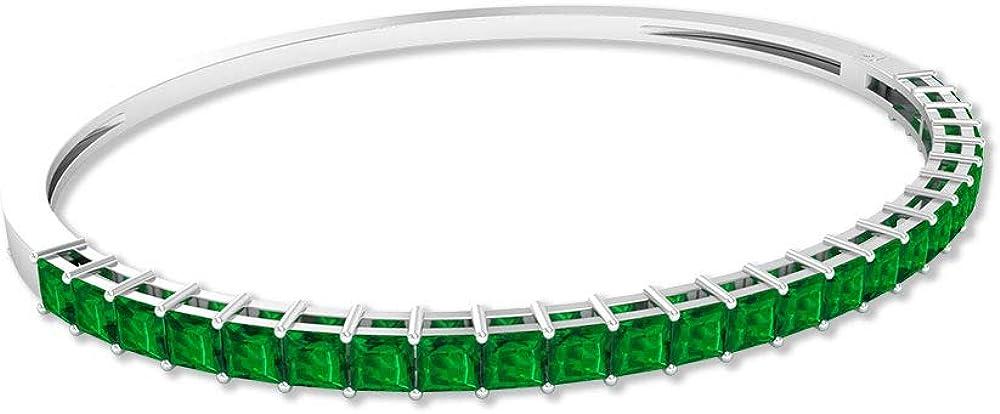 Pulsera de 3,75 quilates de esmeralda, con certificado de laboratorio y esmeralda, pulsera de novia de talla princesa, pulsera de boda única de 10 K