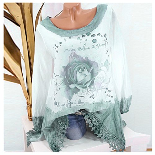 08d594af5 Clearance Sale Fashion T Shirts for Women - vermers Women Plus Size Lace  Print Long Sleeve