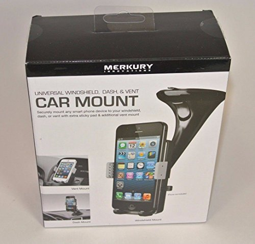 Merkury Innovations Universal Windshield, Dash, & Vent Car Mount Black and Grey