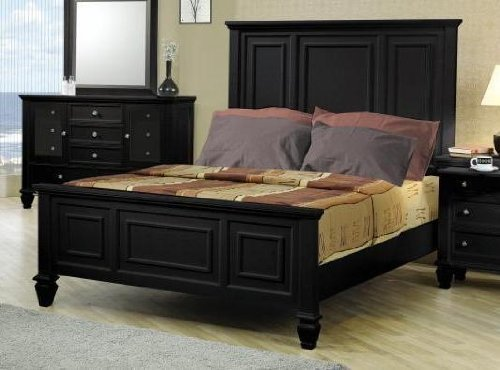 Sandy Beach Eastern King High Headboard Bed Black Asian King Size Bed