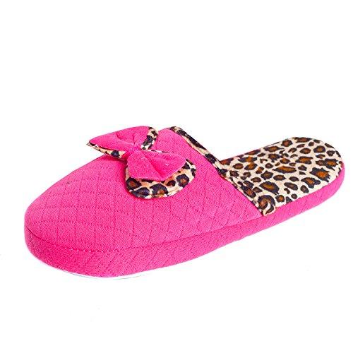 Damen Hausschuhe Haus Pantoffel Hauspantolette Flausch Leopard Pink