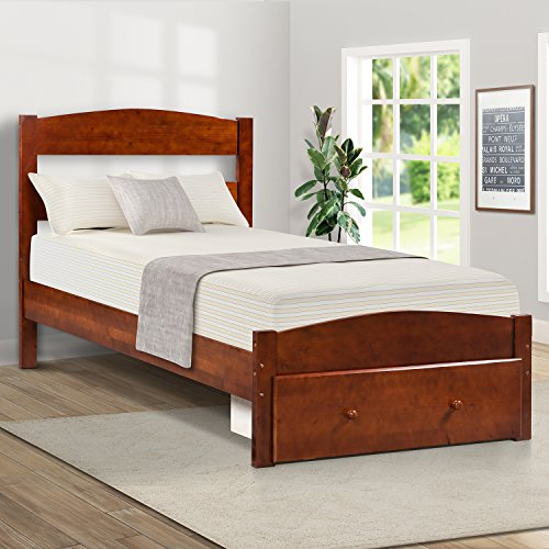 Bed Frame with Storage and Headboard, Wooden Bed Frame, Twin (Walnut) ()