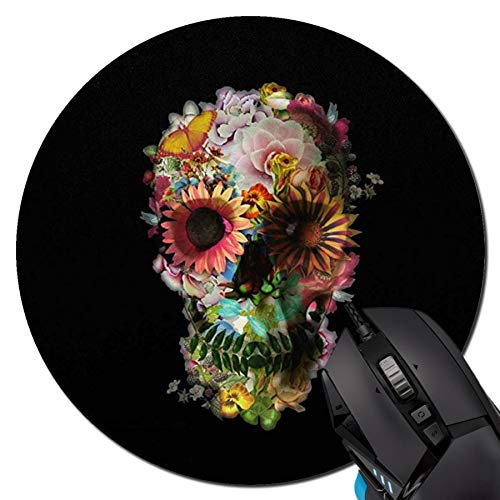 Mouse Pad,Flower Skull Pattern Round Mouse Pad Non-Slip Rubber Mousepad Office Accessories Desk Decor Mouse Pads for Computers Laptop
