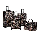 Cheap World Traveler Classic Floral 4-Piece Rolling Expandable Spinner Luggage Set