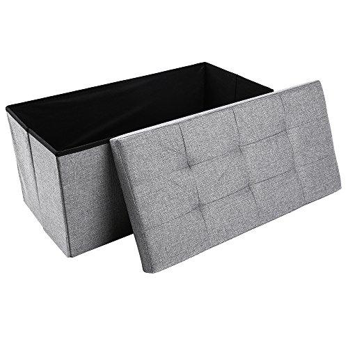 Storage Ottoman,Folding Storage Bench, Linen-like Fabric and Foldable Stool Thickening Sponge for Livingroom 29 7/8