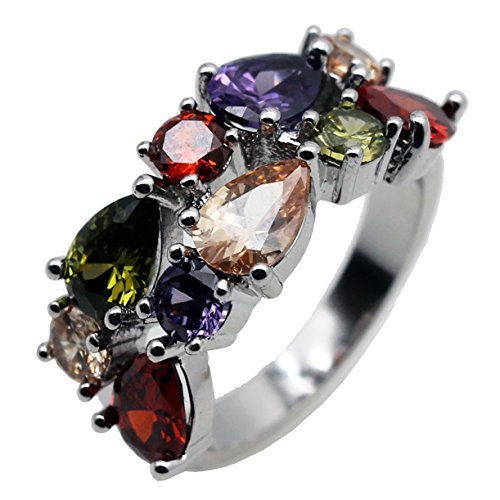 HERMOSA Multi Gemstones Sets Plated Silver Peridot Amethyst Garnet - Plated Multi Gemstones Silver