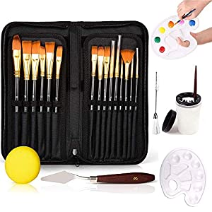 Haffyce 22 Pcs Paint Brushes Set,Paint Brushes for Acrylic Painting ,Oil, Face,Art, Rock and Ceramic Painting,Acrylic…
