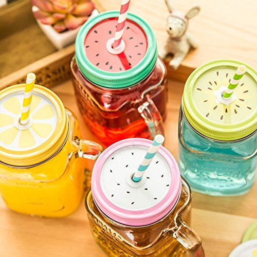Metal Decorative Regular Mouth Mason Jar Lids with Straw Hole (18pcs) 8 Decoration Lids ,8 Striped Plastic Straw Set,2 Straw Wrench