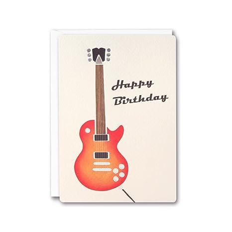 cumpleaños tarjeta de felicitación de impresión retro guitarra