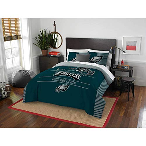 3 Piece NFL Eagles Comforter Full Queen Set, Green Multi Football Themed Bedding Sports Patterned, Team Logo Fan Merchandise Athletic Team Spirit Fan, Polyester, for Unisex