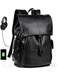 Mens Backpack with USB Leather Waterproof Backpack School College Bookbag Laptop Computer Backpack Leather Travel...