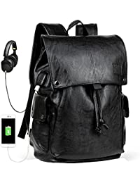 Men's Backpack with USB Leather Waterproof Backpack School College Bookbag Laptop Computer Backpack Leather Travel Bag Extra Capacity Casual Vintage Daypacks