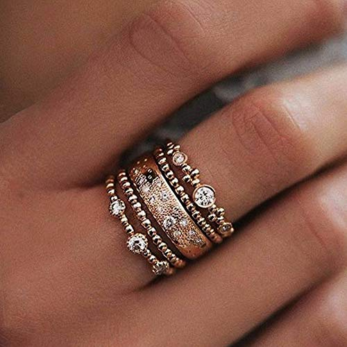 Crookston Fashion 5Pcs/Set Crystal Rose Gold Stackable Ring Sparkly Rings Boho Jewelry   Model RNG - 2249   7