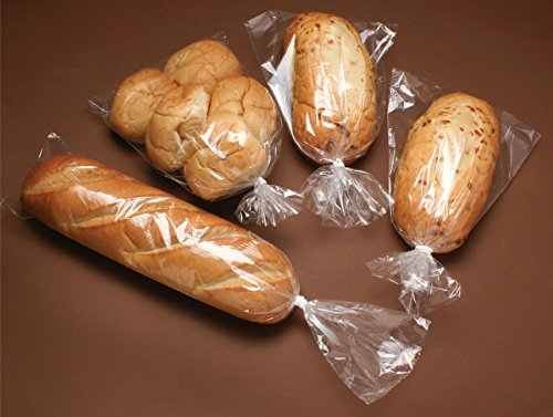 """Bread Bags - 8x4x18"""" Gusset Style Poly Bags - Pack of 100 with 100 Free Bread Ties, keep Food Fresh"""