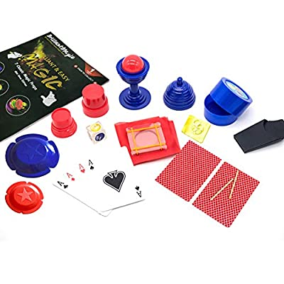 Jufang Yellow Easy Magic Tricks Kits for Kids Magic Toys for Teens Including 7 Classic Magic Props Best Gift for Children (Red): Toys & Games