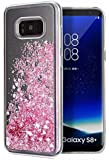 Galaxy S8 Plus Case,WORLDMOM Double layer Design Bling Flowing Liquid Floating Sparkle Colorful Glitter Waterfall TPU Protective Phone Case for Samsung Galaxy S8 Plus, Rose Gold