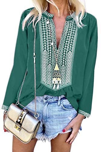 (Chase Secret Womens V Neck Boho Print Embroidered Shirts Long Sleeve Casual Tops Blouses XL Green)