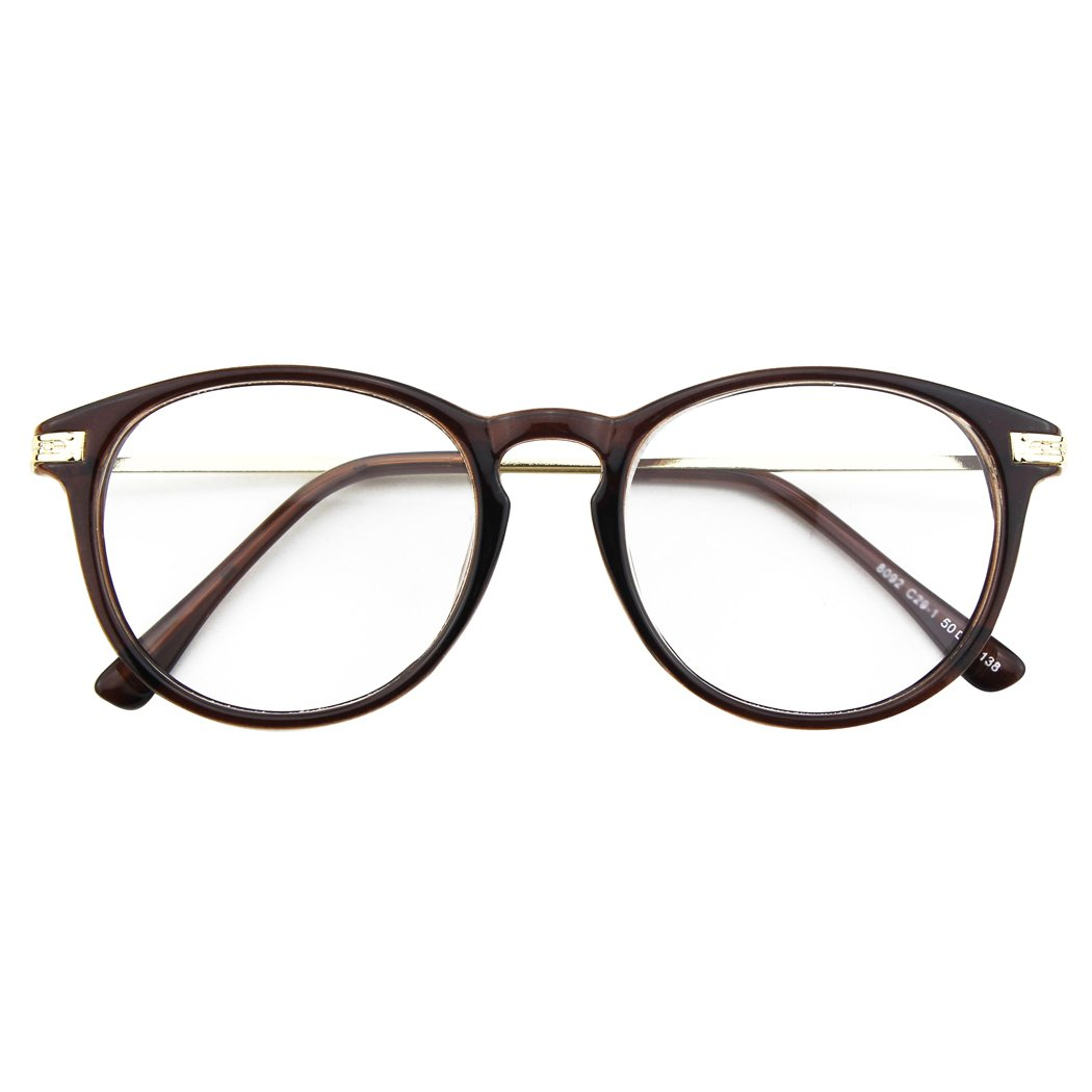 CGID CN92 Fashion Keyhole Metal Temple Oval Horn Rimmed Clear Lens Glasses Brown FBA8092b-01