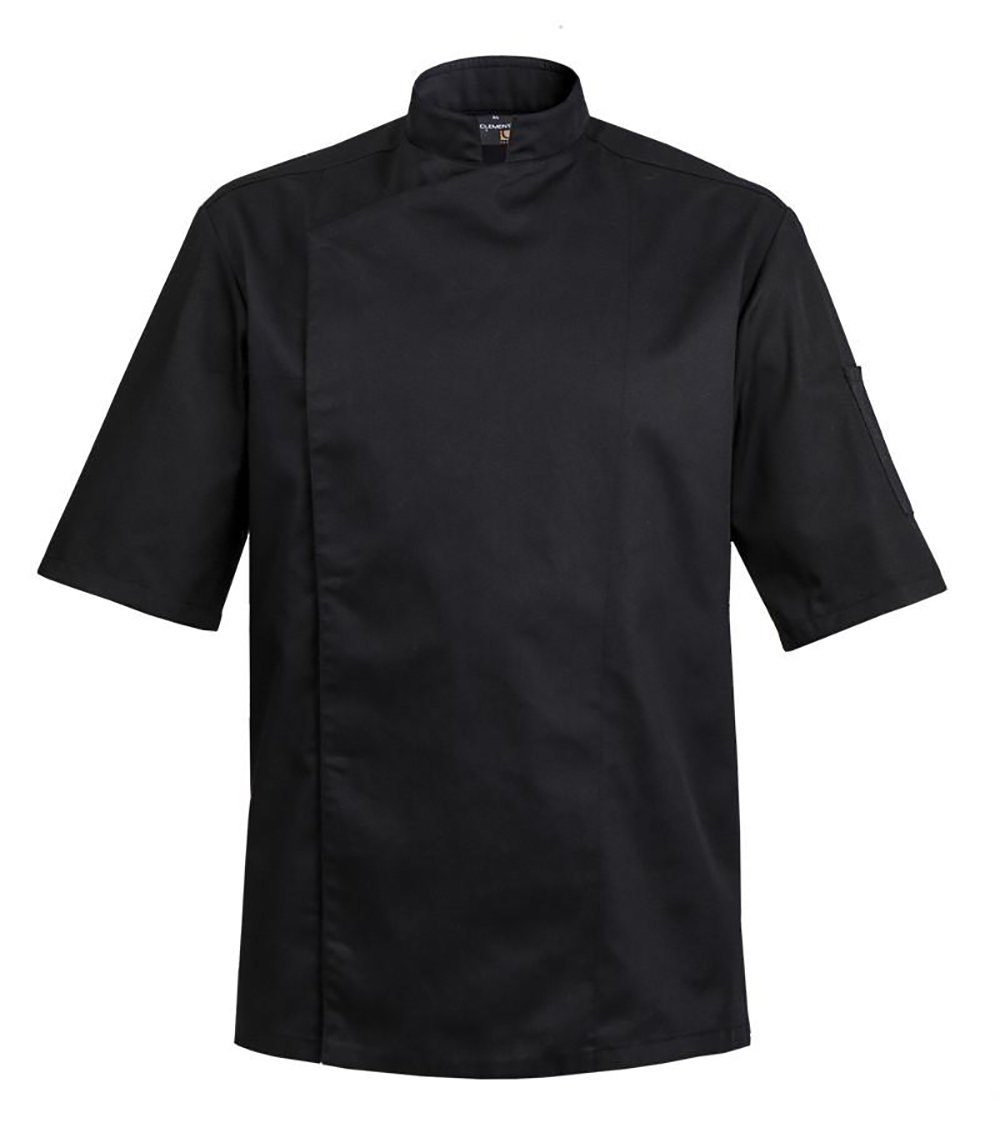 FIRENZE Short Sleeve Culinary Chef Jacket with Mandarin Collar by Clement Design (L - 40/42 - T2, Black) by Clement Design USA