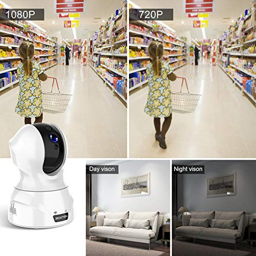 Caméra Surveillance WiFi 1080P, ROXTAK IP Caméra IP sans Fil avec Cloud Echo Show PTZ Detection Facial, Audio Bidirectionnel, Detection et Suivi de Mouvement, Vision Nocturne pour Bébé / Aîné / Animal