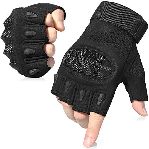 AXBXCX Tactical Touch Screen Plastic Hard Knuckle Fingerless Gloves for Army Military Motorcycle Fishing Cycling Racing Hunting Hiking Airsoft Paintball Shooting Black-L