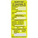 """Brady SCAF-STSI594 7-5/8"""" Height, 3-1/4"""" Width, Polyester, Yellow Color Scafftag Caution Inserts (Pack Of 100)"""