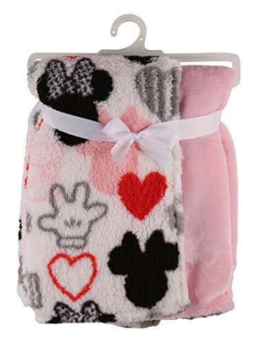 Disney Minnie Mouse Flannel and Sherpa Double Sided Infant Blanket, Icon