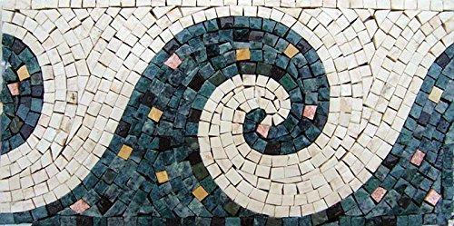 Handmade Waves Design Border Wall Floor Marble Mosaic Art Decor