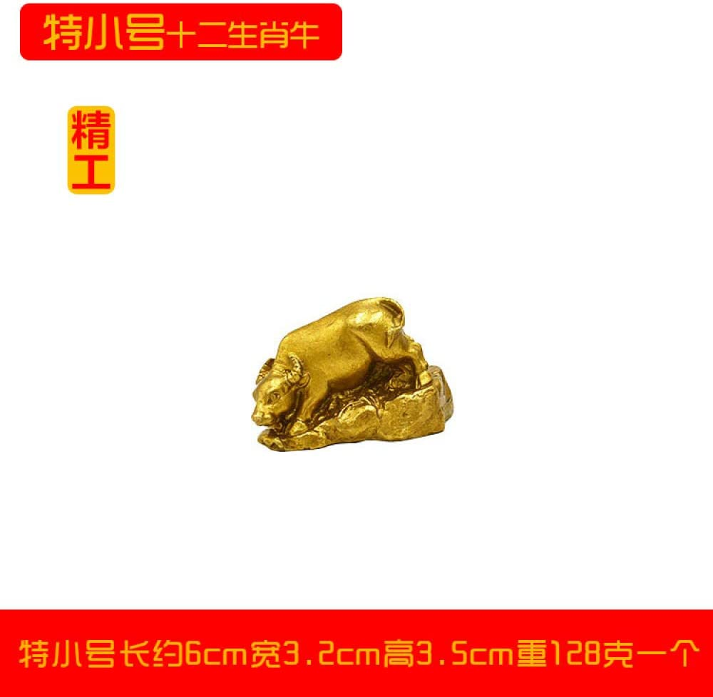 gyl Zodiaco Chino Feng Shui Adornos Cobre Puro Cobre Pequeño Rata Vaca Tigre Conejo Dragón Serpiente Caballo Oveja Mono Pollo Perro Cerdo Accesorios para El Hogar,特小号生肖牛