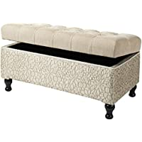 Jennifer Taylor Home Naomi Collection Hand-Tufted Upholstered Storage Entryway Bench with Two-Toned Floral Pattern, Beige