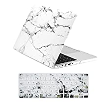 """Unik Case-2 in 1 Retina 13 Inch Marble Rubberized Hard Case & Silicone Skin for Macbook 13"""" with Retina Display A1502/A1425 Shell Cover-White"""